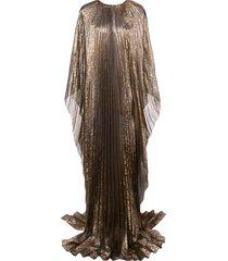 oscar de la renta cape-style pleated evening gown - gold