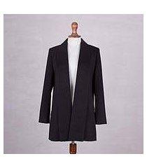 alpaca blend coat, 'warm elegance in black' (peru)
