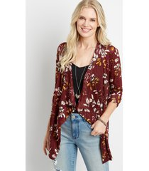 maurices womens red floral crochet back open front cardigan
