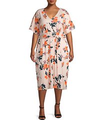 plus floral-print sheath dress