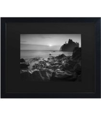"""moises levy sunset at ruby beach matted framed art - 15"""" x 20"""""""