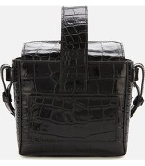 ganni women's croc print bucket bag - black