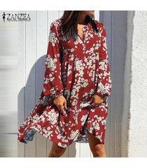 zanzea manga larga floral con cuello en v para mujer mini vestido holgado casual vestidos de cóctel -rojo