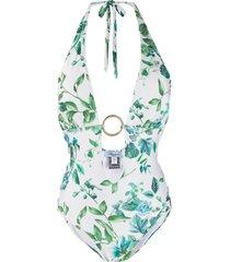 blumarine floral-print one-piece swimsuit - white