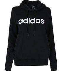 blusão moletinho com capuz adidas essentials linear oh hoodie - feminino - preto/branco