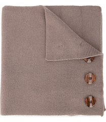 0711 button embellished knitted scarf - neutrals