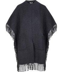 parosh anthracite cape with fringes