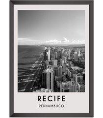 quadro 65x45cm cidades recife brasil moldura preta com vidro - oppen house decora