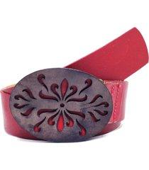 cinto teodora's fivela em couro colorido vermelho - vermelho - feminino - dafiti
