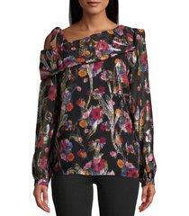 nicole miller jacquard single-shoulder blouse