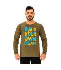 camiseta manga longa moletinho mxd conceito build your own dream