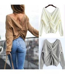 2017 new 3 colors v neck twisted back sweater women jumpers pullovers long sleev