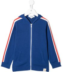 bonpoint striped detail zipped hoodie - blue