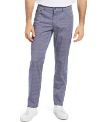 brax cooper plaid stretch cotton five-pocket pants, size 42 x 32 in blue at nordstrom
