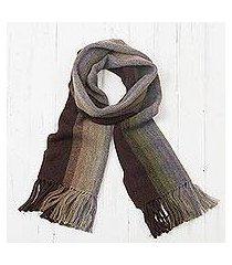 men's 100% alpaca scarf, 'forest canopy stripes' (peru)