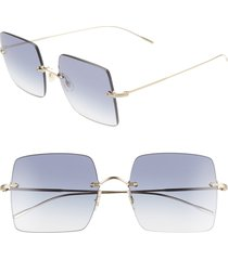 women's oliver peoples oishe 57mm gradient rimless square sunglasses - gold/ aegean gradient