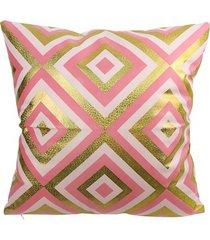almofada em poliéster losango 45x45cm rosa