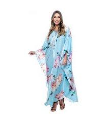 kaftan 101 resort wear saída longo crepe estampado floral fundo azul claro