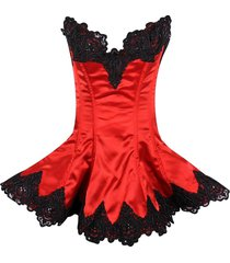 daisy corsets top drawer red  steel boned corset beaded & lace swing dress