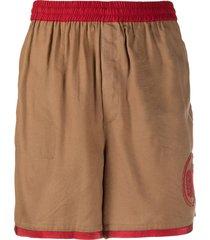 bode beaded logo track shorts - brown