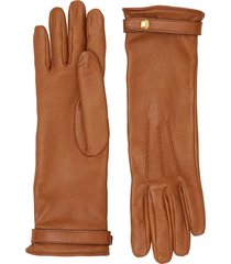 burberry silk-lined lambskin gloves - brown