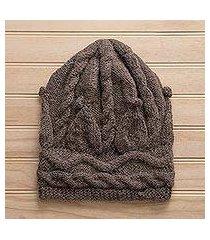 100% alpaca hat, 'taupe cable' (peru)