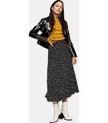 tall black star tie pleated midi skirt - black