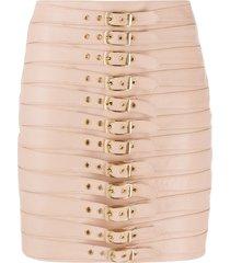 manokhi dita multi-buckle detail skirt - pink