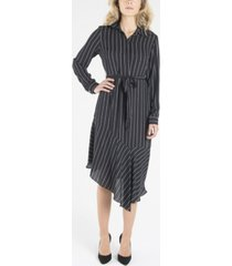 nanette nanette lepore long sleeve dress with collar and asymmetrical hemline