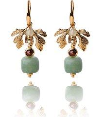 orecchini etnici fatti a mano d'epoca orecchini di lusso in oro foglia di giada ciondola gli orecchini per le donne