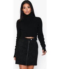 jacqueline de yong jdyreeba faux suede zip skirt jrs minikjolar