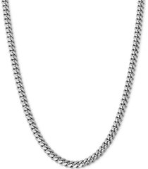 """cuban link 22"""" chain necklace in sterling silver or 18k gold-plated over sterling silver"""