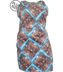 vestido plus size - confidencial extra regata estampado de sarja com elastano
