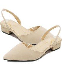 zapatos de punta para mujer sandalias de tacón plano zapatos casuales beige