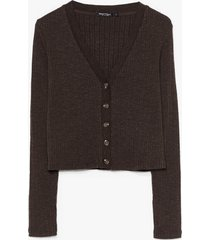 womens button our way ribbed knit cardigan - brown