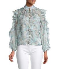 70/21 women's floral high neck top - blue multi - size s
