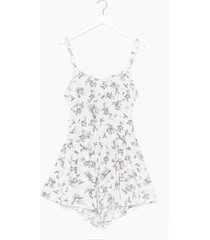womens bud morning floral tie romper - white