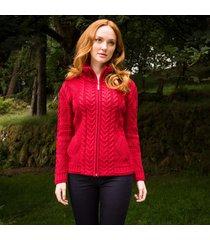 the valentia aran cardigan red m