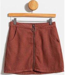 havonna zipper front mini skirt - rust