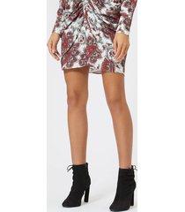 isabel marant women's tilena printed techno skirt - white/red - fr 40/l - multi