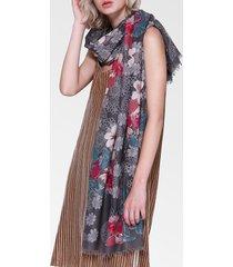 sciarpa oversize da donna in cotone vintage con fiori di lino vogue 180 * 90cm