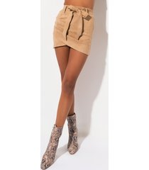 akira intuition wrap front belted faux suede mini skirt