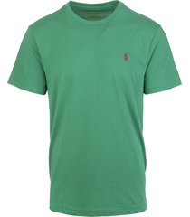 man billiard green jersey t-shirt with red logo