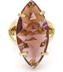 anel navete semijoia banho de ouro 18k cristal lilás