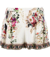 camilla floral flared silk shorts - neutrals
