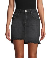 2020 raw hem high-rise denim mini skirt