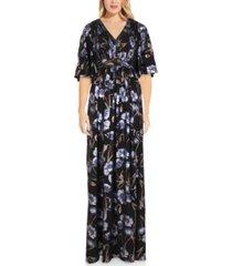 adrianna papell plus size metallic chiffon gown