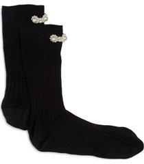 women's simone rocha imitation pearl embellished socks, size medium/large - black