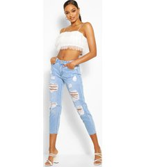 distressd mom jeans, light blue