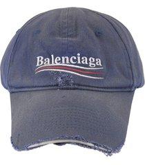 balenciaga woman blue political campaign destroyed baseball cap